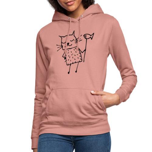 Süße Katze mit Fisch - Frauen Hoodie