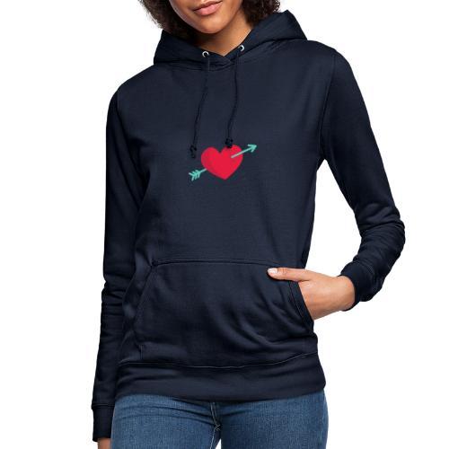 Corazón atravesado por una flecha - Sudadera con capucha para mujer