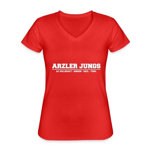Arzler Jungs Schriftzug weiß - Klassisches Frauen-T-Shirt mit V-Ausschnitt