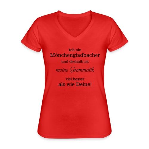 Gladbacher Grammatik - Klassisches Frauen-T-Shirt mit V-Ausschnitt