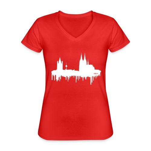 Skyline Köln - Weiß - Klassisches Frauen-T-Shirt mit V-Ausschnitt