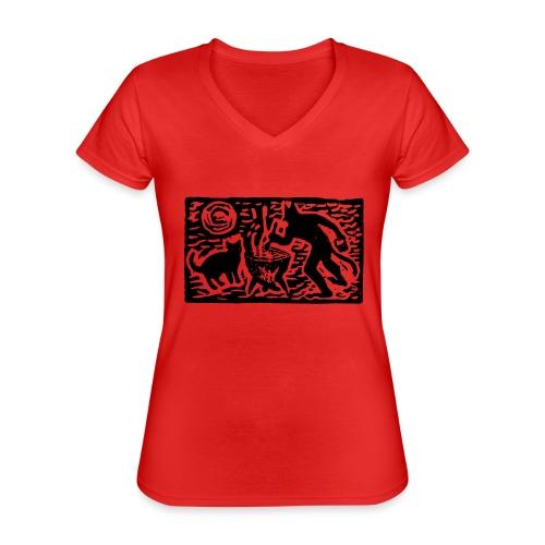 Teufel mit Katze - Klassisches Frauen-T-Shirt mit V-Ausschnitt