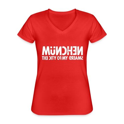 München (white oldstyle) - Klassisches Frauen-T-Shirt mit V-Ausschnitt