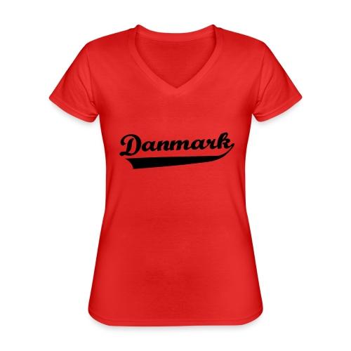 Danmark Swish - Klassisk dame T-shirt med V-udskæring
