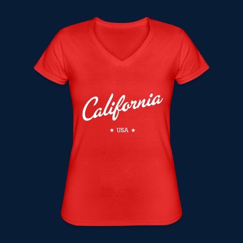 California - Klassisches Frauen-T-Shirt mit V-Ausschnitt