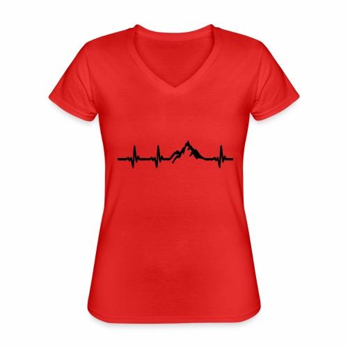 Herzschlag - Berg - Klassisches Frauen-T-Shirt mit V-Ausschnitt