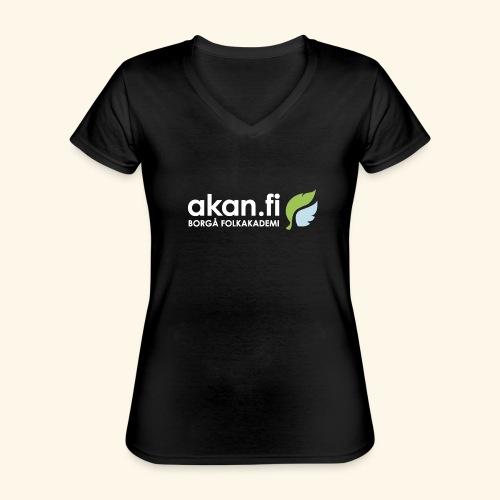 Akan White - Klassinen naisten t-paita v-pääntiellä