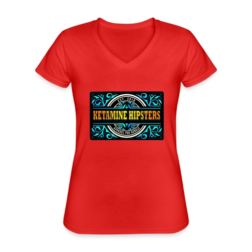 Black Vintage - KETAMINE HIPSTERS Apparel - Classic Women's V-Neck T-Shirt