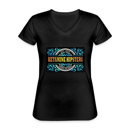 Black Vintage - KETAMINE HIPSTERS Apparel - Classic Women's V-Neck T-Shirt