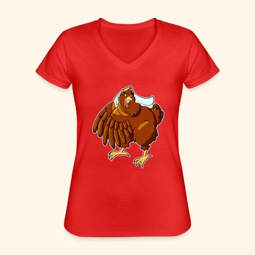 Verrücktes Huhn - Klassisches Frauen-T-Shirt mit V-Ausschnitt