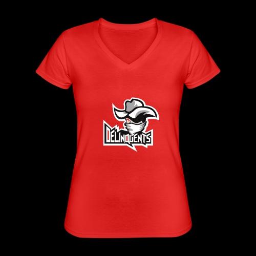 Delinquents TriColor - Klassisk dame T-shirt med V-udskæring