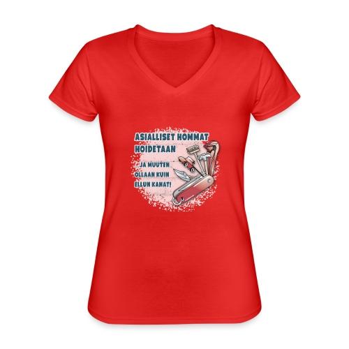 TYÖKALU todelliselle ammattilaisille, Tekstiilit.. - Klassinen naisten t-paita v-pääntiellä