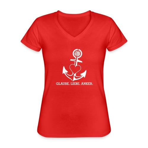 Glaube Liebe Anker - Klassisches Frauen-T-Shirt mit V-Ausschnitt