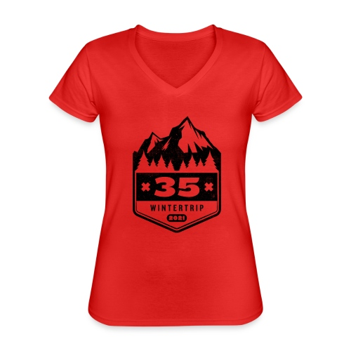 35 ✕ WINTERTRIP ✕ 2021 • BLACK - Klassiek vrouwen T-shirt met V-hals
