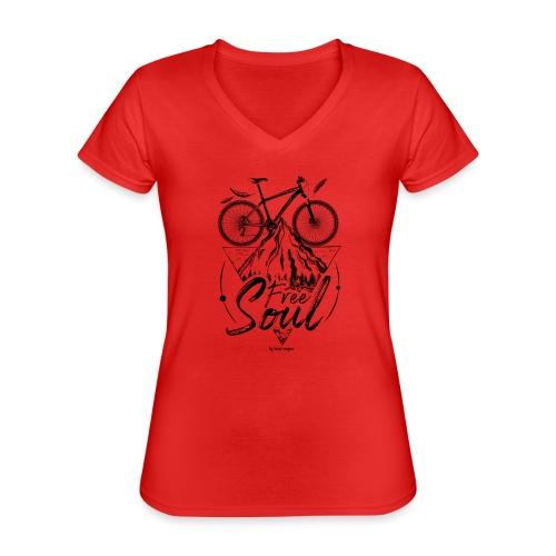 FREE SOUL black - Camiseta clásica con cuello de pico para mujer