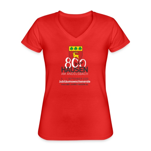 Jubiläum ROT - Klassisches Frauen-T-Shirt mit V-Ausschnitt