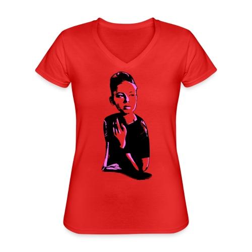 WOKE (pink) - Klassisk dame T-shirt med V-udskæring