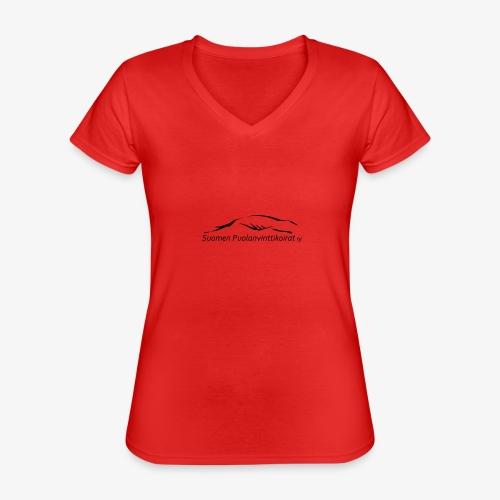 SUP logo musta - Klassinen naisten t-paita v-pääntiellä