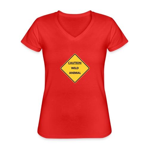 Caution Wild Animal - T-shirt classique col V Femme