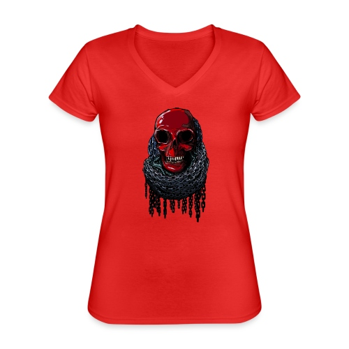 RED Skull in Chains - Classic Women's V-Neck T-Shirt