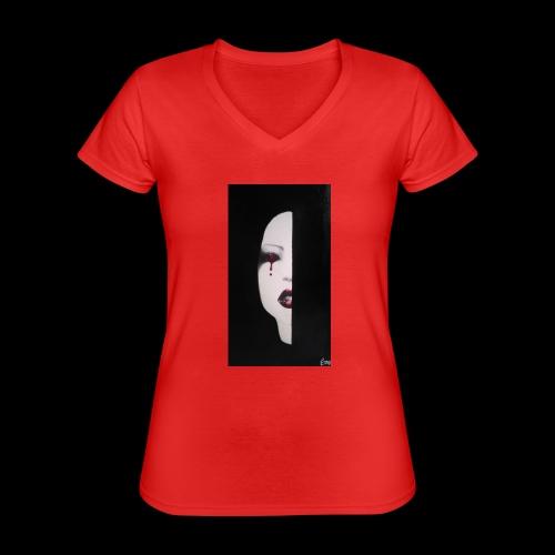 BlackWhitewoman - Maglietta da donna classica con scollo a V