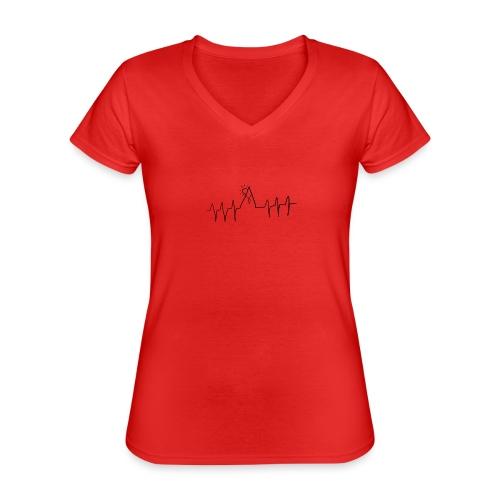 mountain heartbeat - Maglietta da donna classica con scollo a V