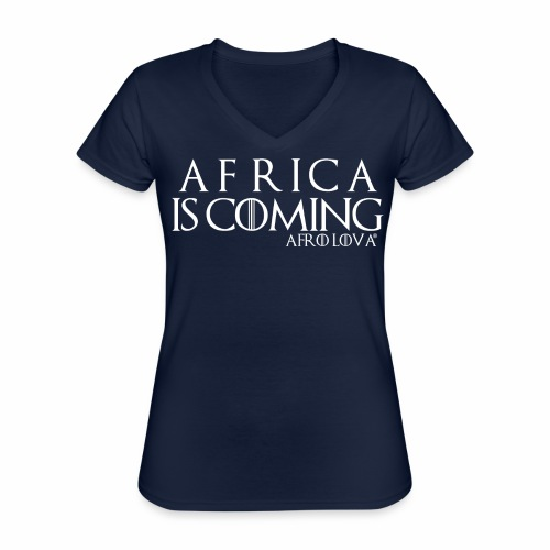 africa is coming blanc - T-shirt classique col V Femme