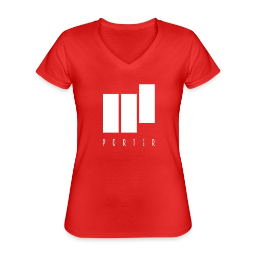 PORTER Sign White - Klassisches Frauen-T-Shirt mit V-Ausschnitt