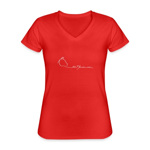MPS Logoschriftzug kl. Dreamhorse - Klassisches Frauen-T-Shirt mit V-Ausschnitt