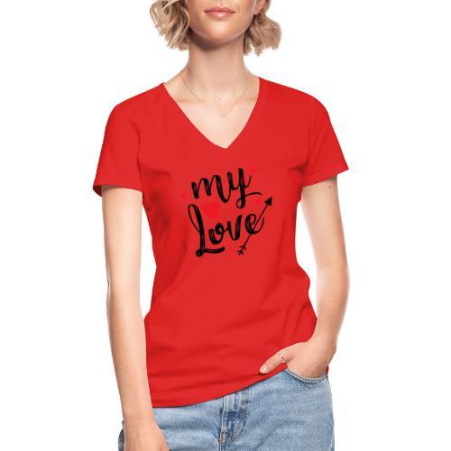 My love - Klassisk dame T-shirt med V-udskæring