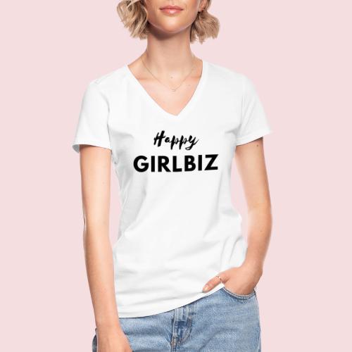 Happy GIRLBIZ - Klassisches Frauen-T-Shirt mit V-Ausschnitt
