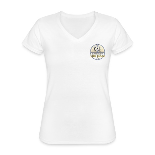 KS Logo 100 J - Klassisches Frauen-T-Shirt mit V-Ausschnitt