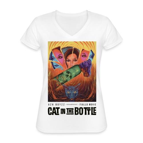 Cat in the Bottle / Kissanpäivät - COLOR (1 print) - Klassinen naisten t-paita v-pääntiellä