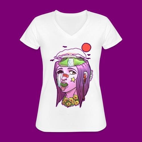 Pink Girl - Klassiek vrouwen T-shirt met V-hals