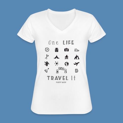 One Life, Travel It - T-shirt classique col V Femme