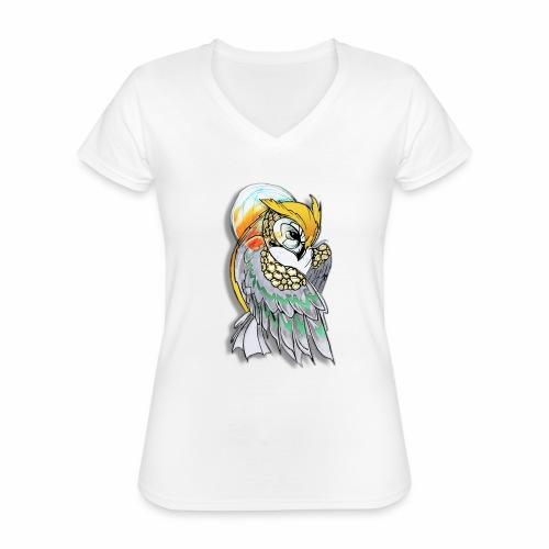 Cosmic owl - Camiseta clásica con cuello de pico para mujer