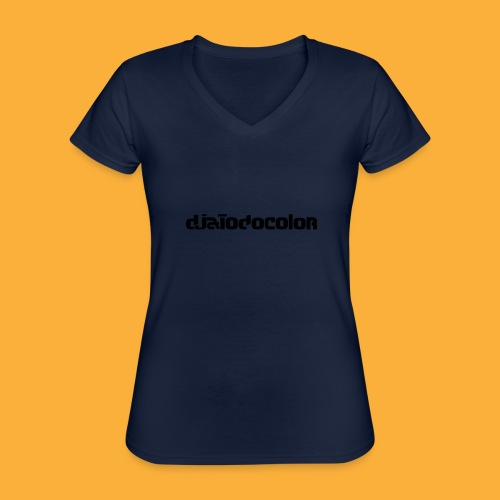 DJATODOCOLOR LOGO NEGRO - Camiseta clásica con cuello de pico para mujer