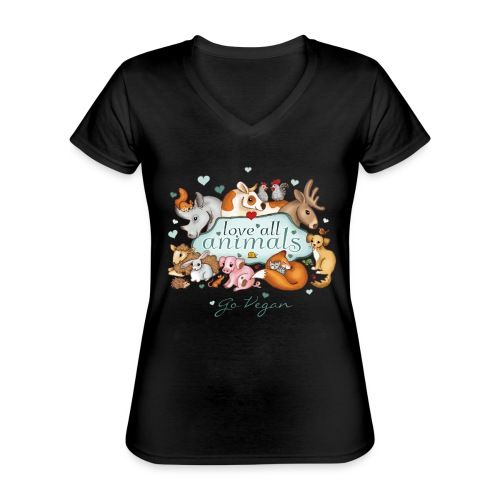 Love all animals door Maria Tiqwah - Klassiek vrouwen T-shirt met V-hals
