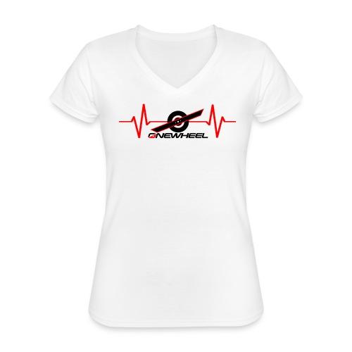 OneWheelLife (black text) - Klassisk dame T-shirt med V-udskæring
