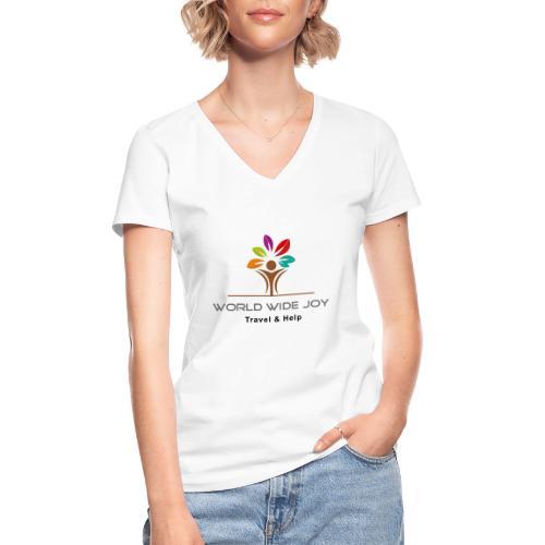 World Wide Joy Logo Subline - Klassisches Frauen-T-Shirt mit V-Ausschnitt