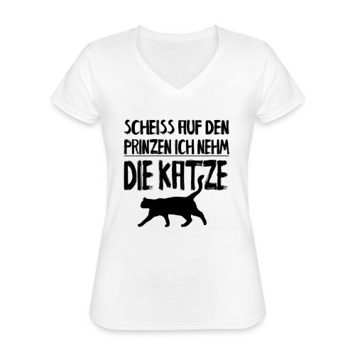 Katze Katzen Katzenliebhaber Geschenk Katzenliebe - Klassisches Frauen-T-Shirt mit V-Ausschnitt