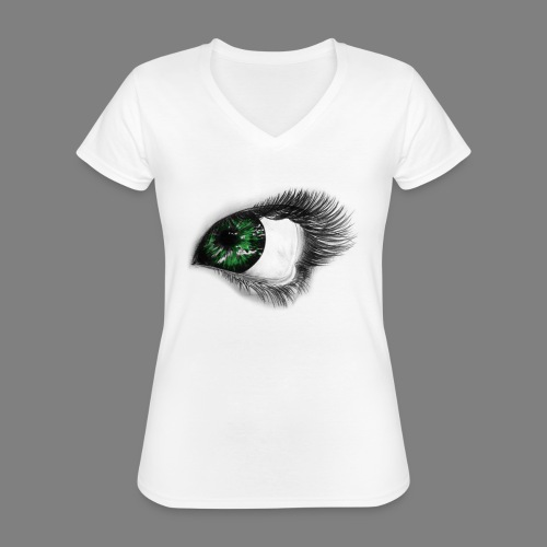 Auge 1 - Klassisches Frauen-T-Shirt mit V-Ausschnitt