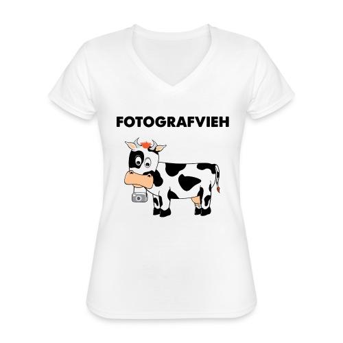 Fotografvieh - Klassisches Frauen-T-Shirt mit V-Ausschnitt