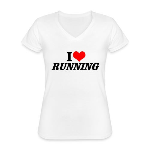 I love running - Klassisches Frauen-T-Shirt mit V-Ausschnitt