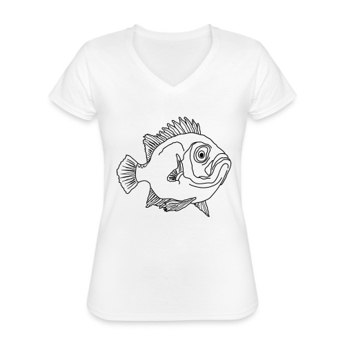 Fisch Barsch Ozean Meer Wasser Aquarium Angeln - Klassisches Frauen-T-Shirt mit V-Ausschnitt