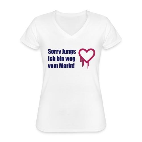 sorry jungs - bin weg vom - Klassisches Frauen-T-Shirt mit V-Ausschnitt