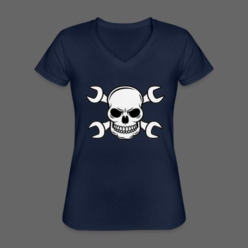 MEKKER SKULL - Klassisk dame T-shirt med V-udskæring
