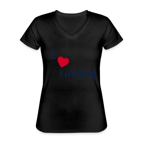 I Love Finland - Klassinen naisten t-paita v-pääntiellä