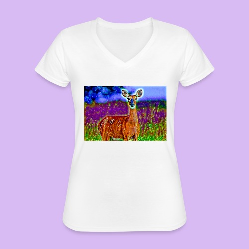 Cerbiatto con magici effetti - Maglietta da donna classica con scollo a V