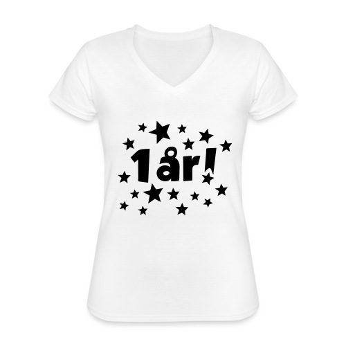 1 år! - Klassisk T-skjorte med V-hals for kvinner